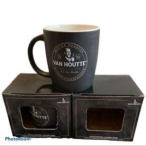 NWT VanHoutte set of 2 ceramic writable mugs 12oz